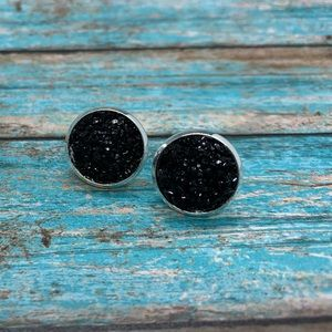 Sparkly black 12mm stud earrings silver hardware